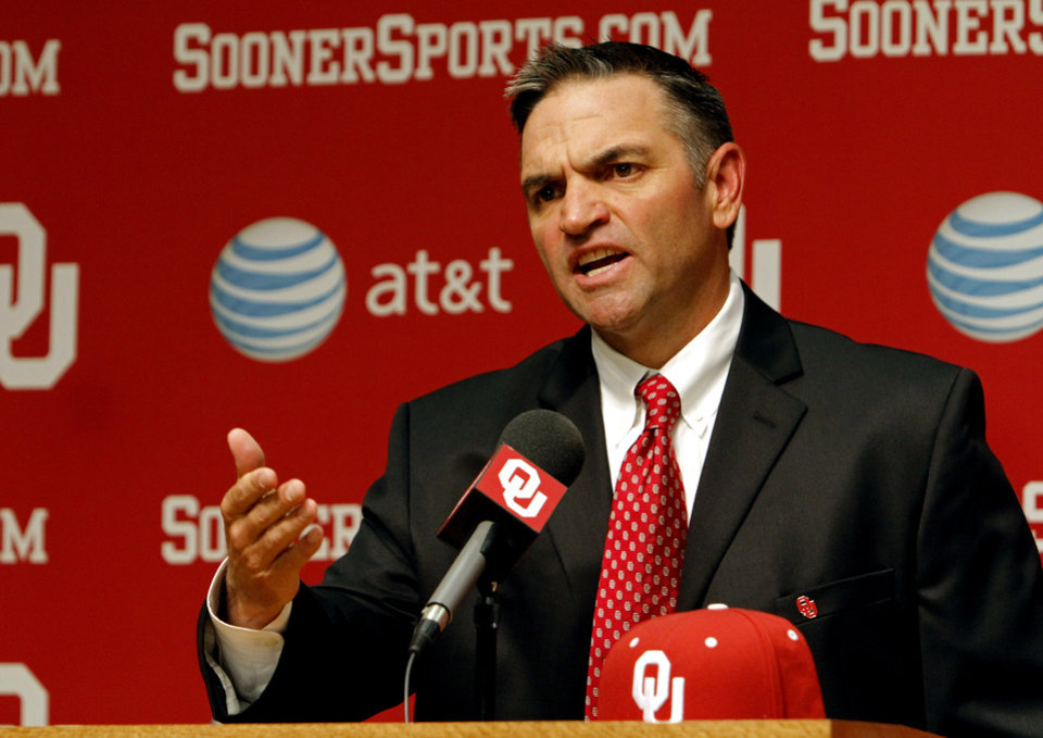 COLLEGE BASEBALL COACH / ANNOUNCE / ANNOUNCED / ANNOUNCEMENT: Pete Hughes is introduced as the University of Oklahoma (OU) Sooners new baseball coach on Thursday, June 27, 2013 in Norman, Okla. Photo by Steve Sisney, The Oklahoman