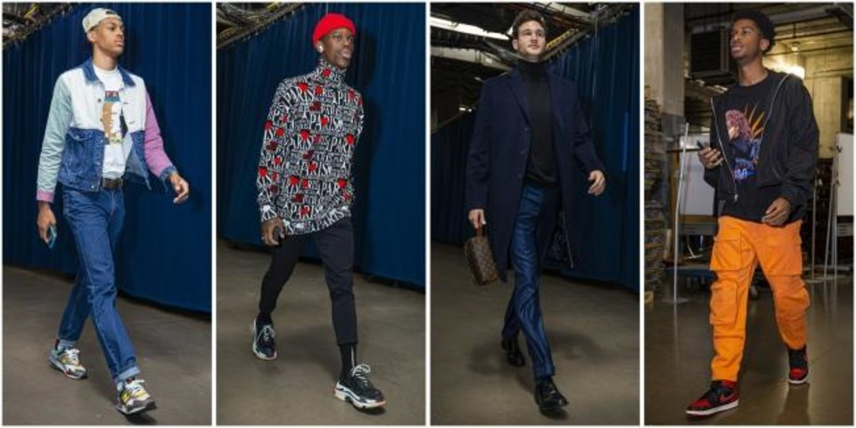 Photo -  From left: Darius Bazley, Dennis Schroder, Danilo Gallinari and Shai Gilgeous-Alexander make fashion statements before Thunder games. [Photos courtesy of Zach Beeker/OKC Thunder]