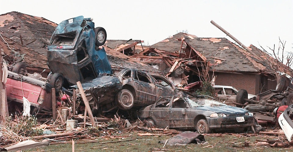 MAY 3, 1999 TORNADO: Tornado damage: First houses located on SW 126th   just south across the street from Westmoore High School.