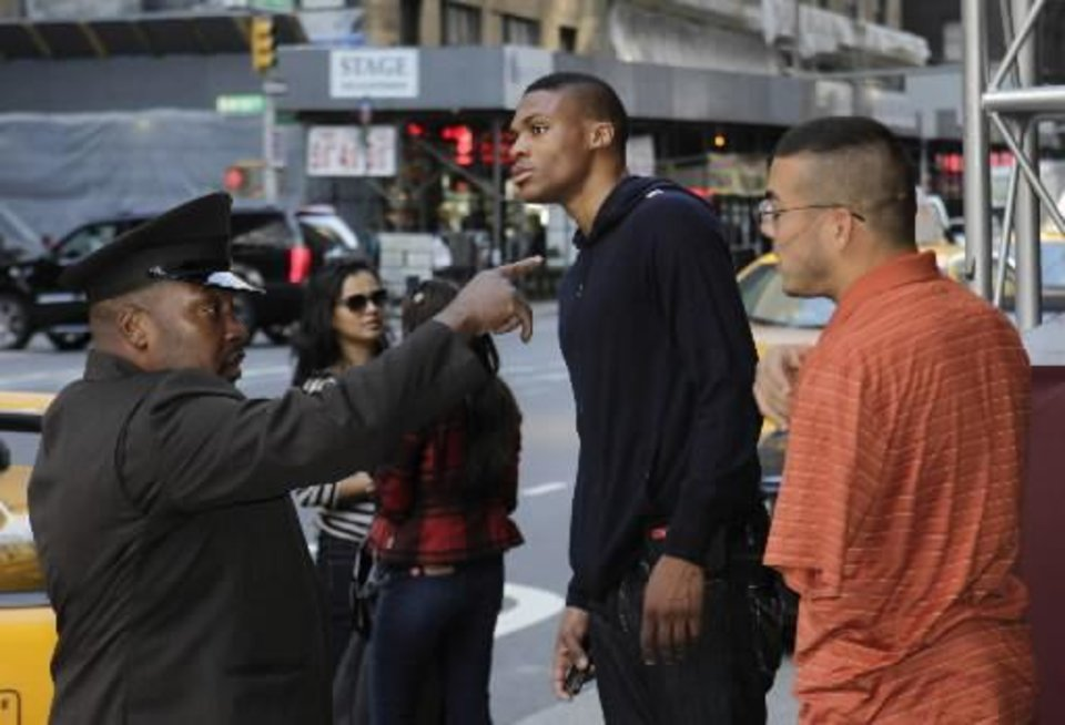 Oklahoma City Thunder guard Russell Westbrook leaving Tuesday's players association meeting in New York City