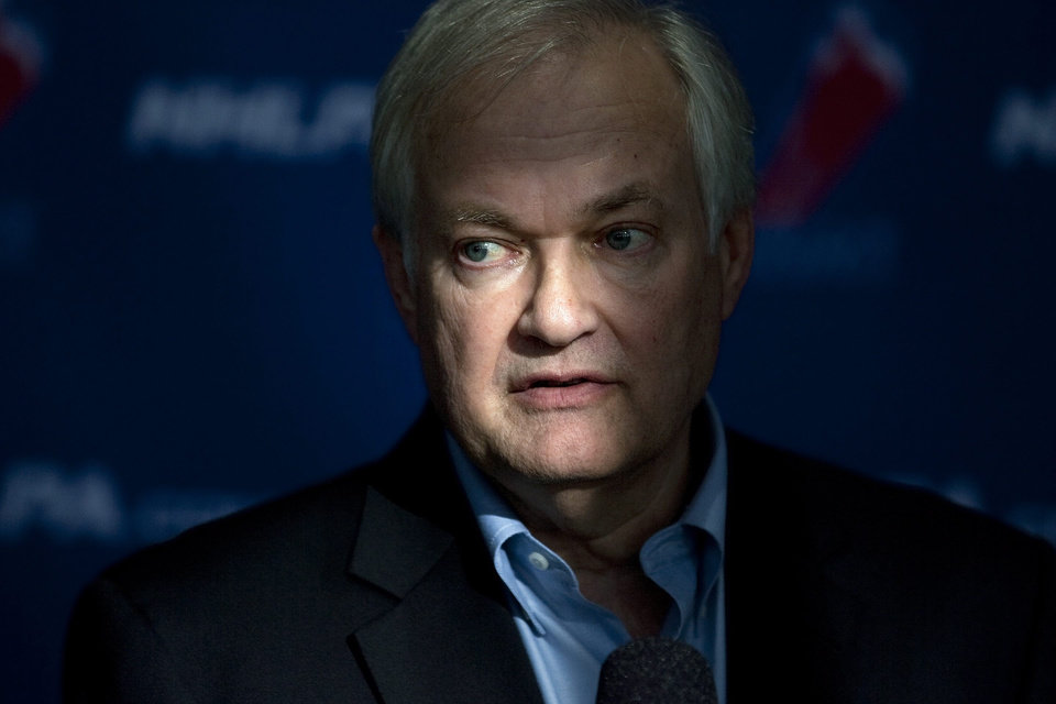 Photo -   NHL players' association head Donald Fehr speaks to reporters following collective bargaining talks in Toronto on Tuesday, Oct. 16, 2012. (AP Photo/The Canadian Press, Chris Young)