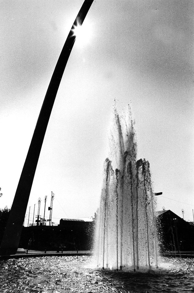 Photo -  State Fair of Oklahoma: A splashing, bubbling fountain is a welcome sight at the 1981 fair. (Original photo ran 09/27/81)