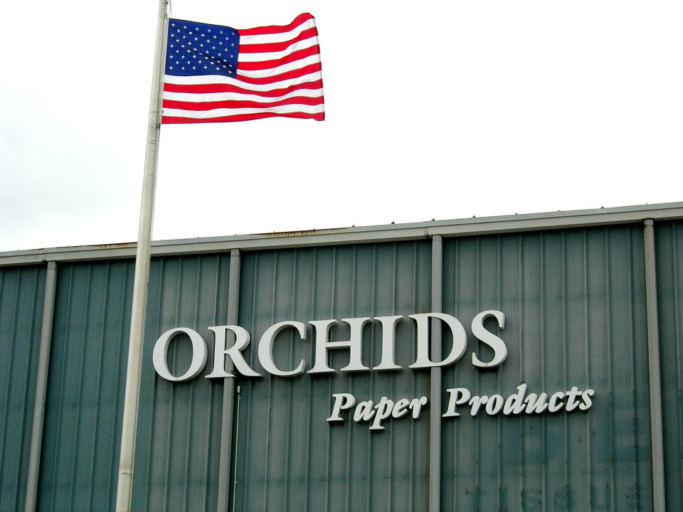 Photo - ORCHIDS PAPER COMPANY / BUILDING EXTERIOR: Orchids Paper Products      Photo by Richard Mize, The Oklahoman     ORG XMIT: KOD