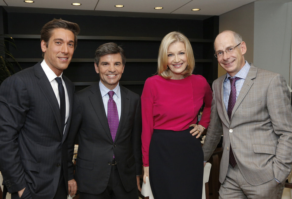 """Photo - This image released by ABC News shows, from left, David Muir, George Stephanopoulos, Diane Sawyer and ABC News President James Goldston on Wednesday, June 25, 2014, in New York.  Sawyer is stepping down as its evening news anchor, to be replaced by David Muir. The network said Sawyer will concentrate on interviews and specials. During her tenure, ABC's """"World News"""" was a steady second to Brian Williams at NBC, although the ABC broadcast has made gains among younger viewers. ABC said George Stephanopoulos will take on a new role as chief anchor for live news events. (AP Photo/ABC, Heidi Gutman)"""