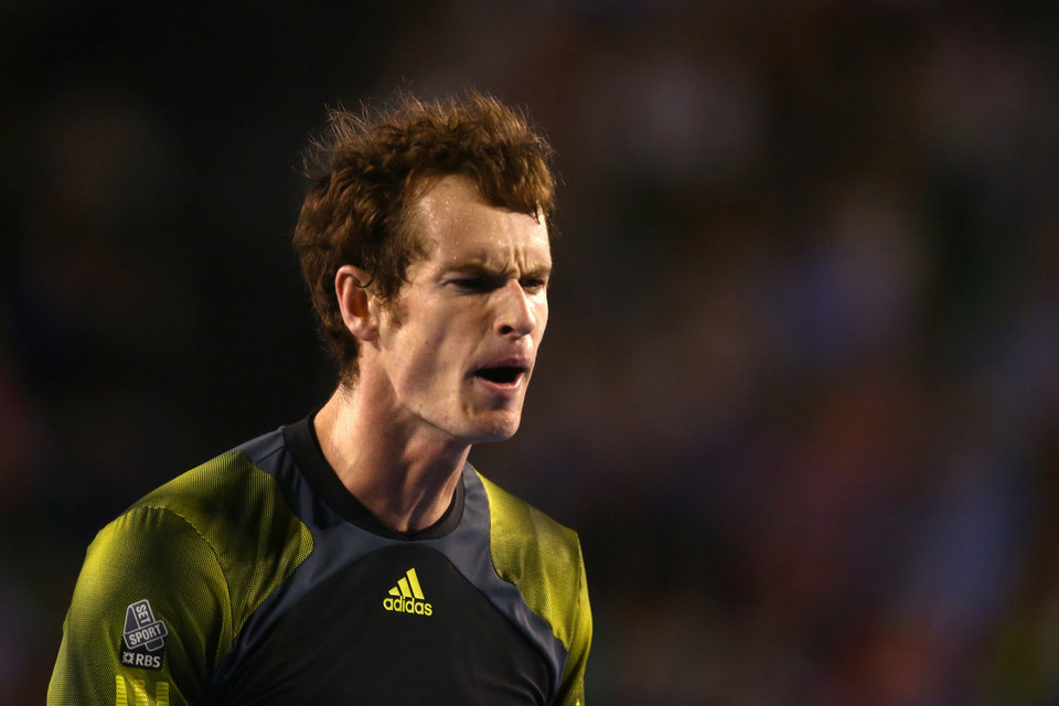 Photo - Britain's Andy Murray reacts during his semifinal win over Switzerland's Roger Federer at the Australian Open tennis championship in Melbourne, Australia, Friday, Jan. 25, 2013. (AP Photo/Mark Kolbe,Pool)