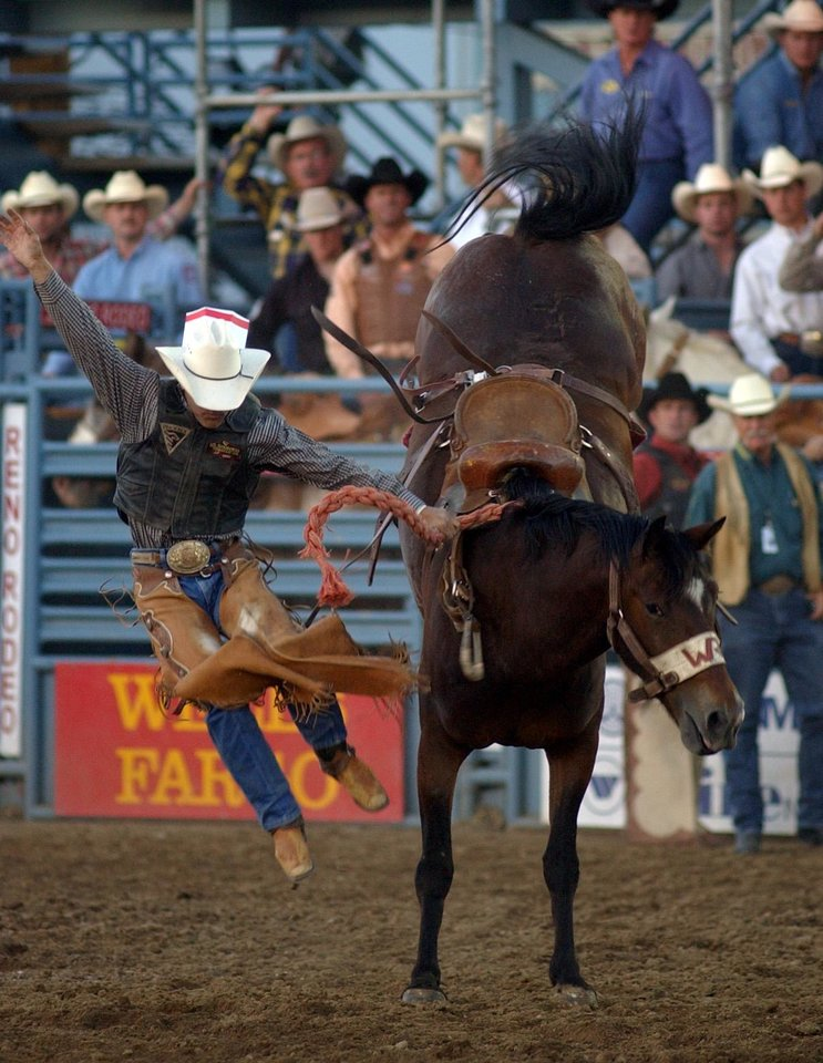 Jet McCoy of Tupelo Okla. falls off Big Ticket during the Saddle Bronc competition Wednesday June 25, 2003, at the Reno Rodeo in Reno, Nev.(AP Photo/Reno Gazette-Journal, Liz Margerum)