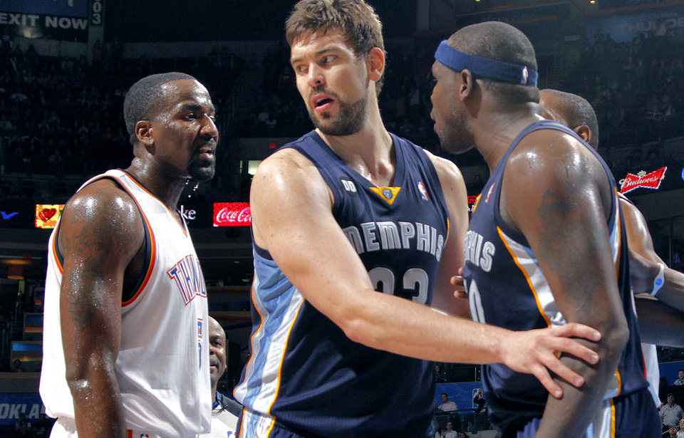 Memphis\' Marc Gasol (33) steps between Oklahoma City\'s Kendrick Perkins (5) and Memphis\' Zach Randolph (50) as they are both ejected from the game during the NBA basketball game between the Oklahoma City Thunder and the Memphis Grizzlies at Chesapeake Energy Arena on Wednesday, Nov. 14, 2012, in Oklahoma City, Okla. Photo by Chris Landsberger, The Oklahoman