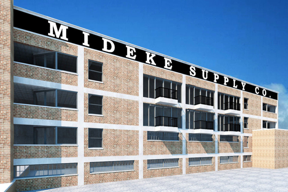 Photo - EXTERIOR: This computer-generated rendering shows how windows and balconies would be added to the east facade of the Mideke Building, also known as the Mercantile Building, in Bricktown. DRAWING PROVIDED     ORG XMIT: 1106062228462962