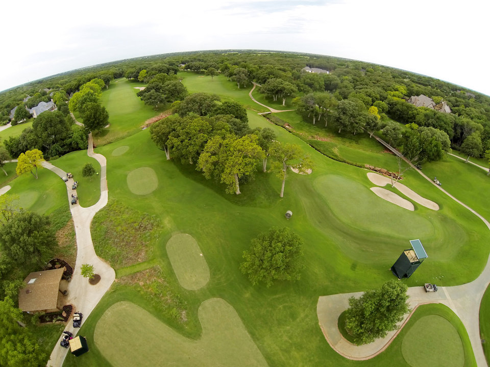 Photo - 6th tee and 7th green. Aerials of Oak Tree National course in Edmond, site of the 2014 U.S. Senior Open, Tuesday, July 1, 2014. Photo by Carl Shortt, Jr., for The Oklahoman