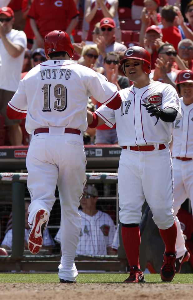 Photo - Cincinnati Reds' Joey Votto, left, is congratulated by Shin-Soo Choo, right, after Votto hit the go ahead two-run home run off Cleveland Indians relief pitcher Nick Hagadone in the eighth inning during a baseball game, Monday, May 27, 2013, in Cincinnati. The Reds won 4-2. (AP Photo/David Kohl)