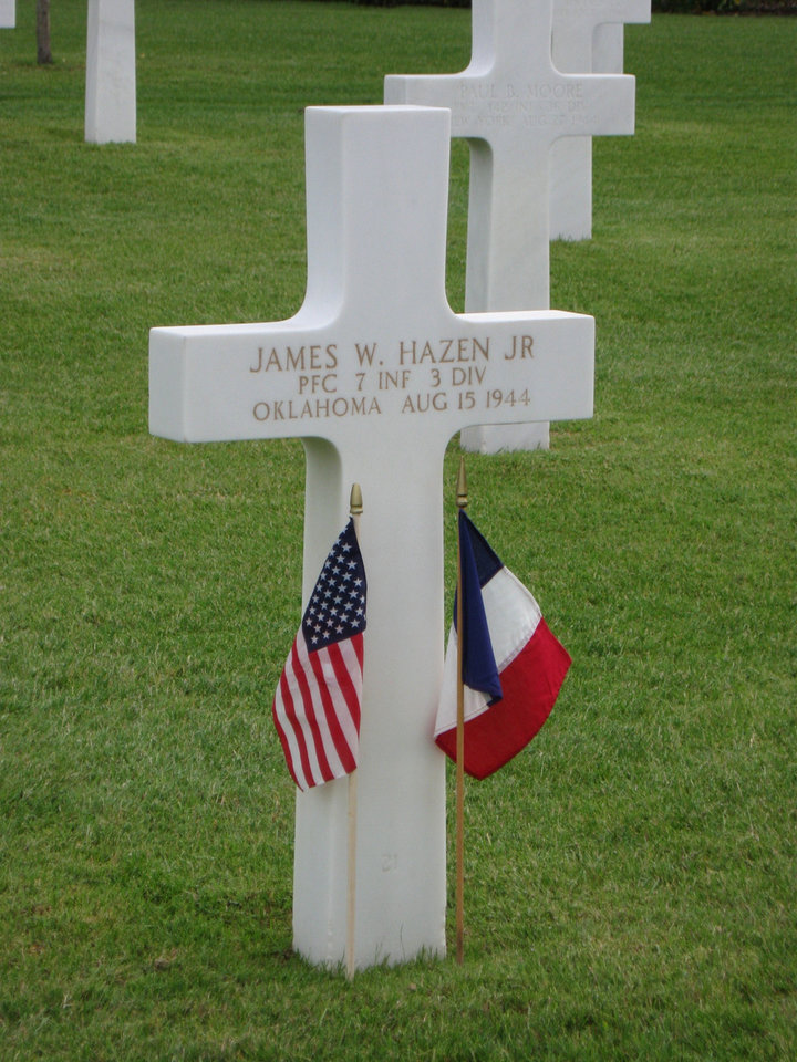 Photo - The grave of Pfc. James W. Hazen Jr., of Ponca City, who died Aug. 15, 1944, is in the Rhone American Cemetery in Draguignan, France. PHOTO PROVIDED BY Franco-American Society/American Battle Monuments Commission