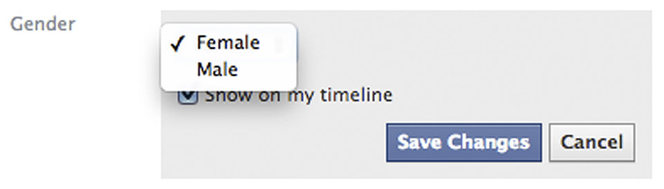 Photo - This screen shot released by Facebook shows the new gender option screen. Facebook is adding a customizable option with about 50 different terms people can use to identify their gender as well as three preferred pronoun choices: him, her or them. Facebook said the changes being rolled out Thursday, Feb. 13, 2014, for the company's 159 million monthly users in the U.S. are aimed at giving gender nonconforming people the opportunity to be transparent about who they really are, whether that's androgynous, bi-gender, intersex, gender fluid or transsexual. (AP Photo/Facebook)
