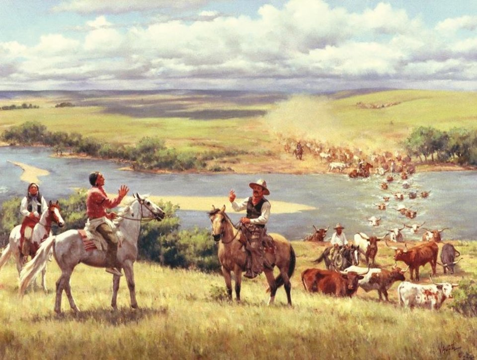 Photo - The Great Western Cattle Trail was one of four major cattle trails that crossed the future Oklahoma and carried millions of cattle from Texas to railheads in Kansas. Sponsored by former Sen. Robert M. Kerr of Altus, this painting depicts the trail's crossing of the Canadian River near Camargo in Dewey County. Barbara Vaupel,