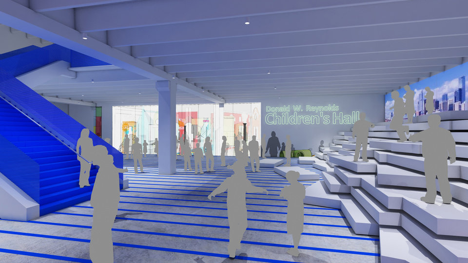 Plans for a remodeled Science Museum Oklahoma include an area for school groups to line up before viewing exhibits. Image provided