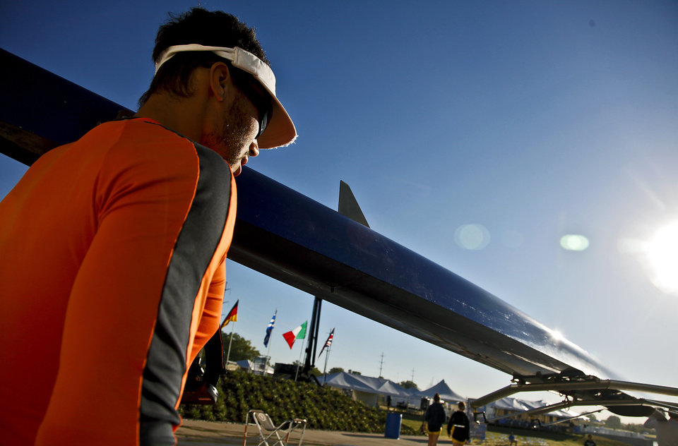A rowing competitor carries a rowing shell to the water during the Oklahoma Regatta Festival at the Oklahoma River on Saturday, Oct. 1, 2011, in Oklahoma City, Okla. Photo by Chris Landsberger, The Oklahoman
