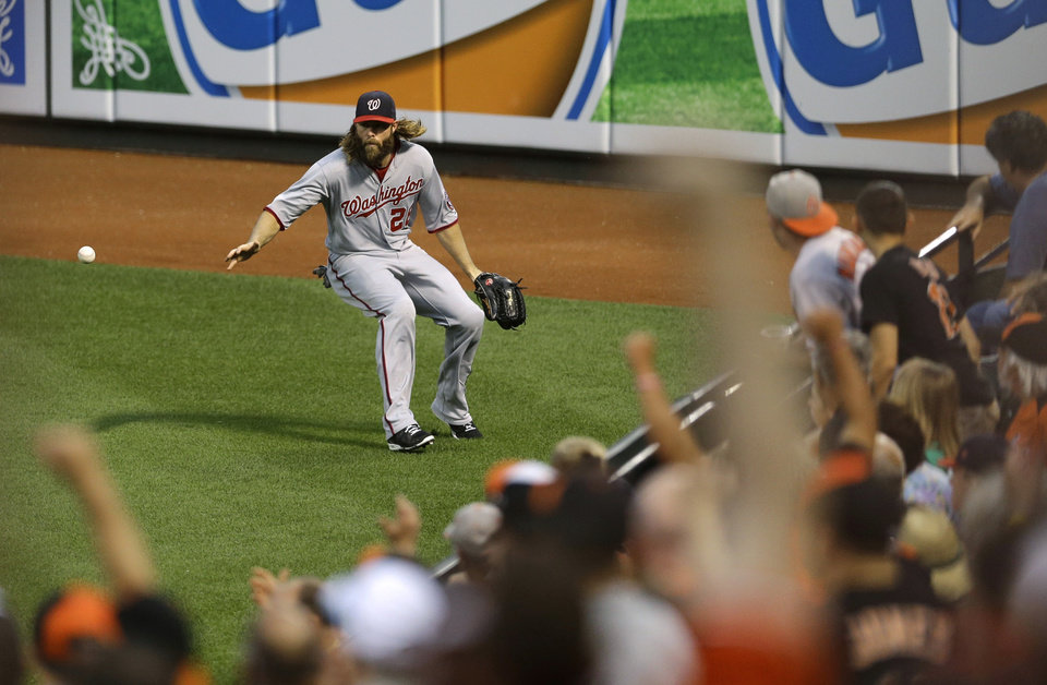 Photo - Washington Nationals right fielder Jayson Werth chases after a fly ball by Baltimore Orioles' Adam Jones in the third inning of an interleague baseball game, Thursday, July 10, 2014, in Baltimore. Jones reached second and Nick Markakis scored on the play. (AP Photo/Patrick Semansky)