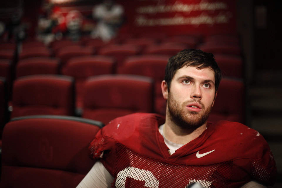 University of Oklahoma football player Gabe Ikard talks with the media in Norman. Photo by Sarah Phipps, The Oklahoman archives