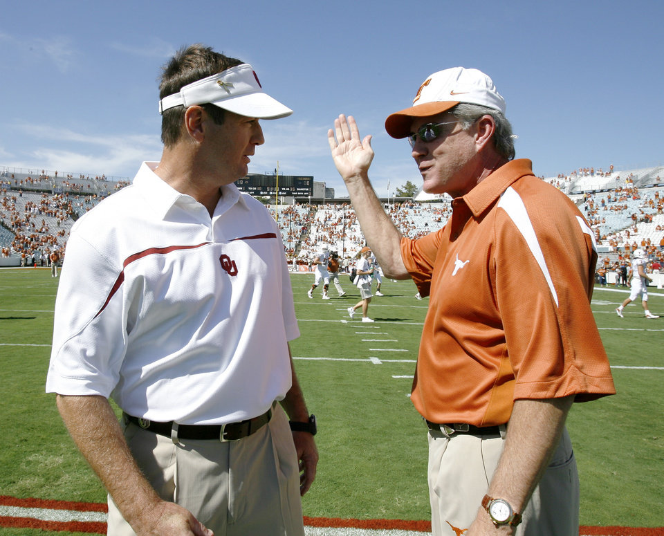 Bob Stoops, left, and Mack Brown are two of the biggest stars in the Big 12 for 2010. PHOTO BY STEVE SISNEY, THE OKLAHOMAN ARCHIVE