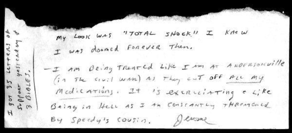 Hand written note sent to Oklahoman writer Nolan Clay from Jerome Ersland while in jail. ORG XMIT: KOD