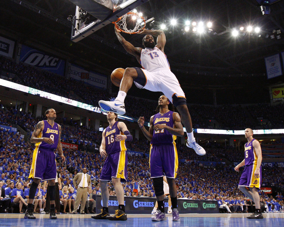 Photo - Oklahoma City's James Harden (13) dunks the ball as Los Angeles' Matt Barnes (9), Pau Gasol (16), Jordan Hill (27), and Steve Blake (5) watch during Game 1 in the second round of the NBA playoffs between the Oklahoma City Thunder and L.A. Lakers at Chesapeake Energy Arena in Oklahoma City, Monday, May 14, 2012. Photo by Bryan Terry, The Oklahoman