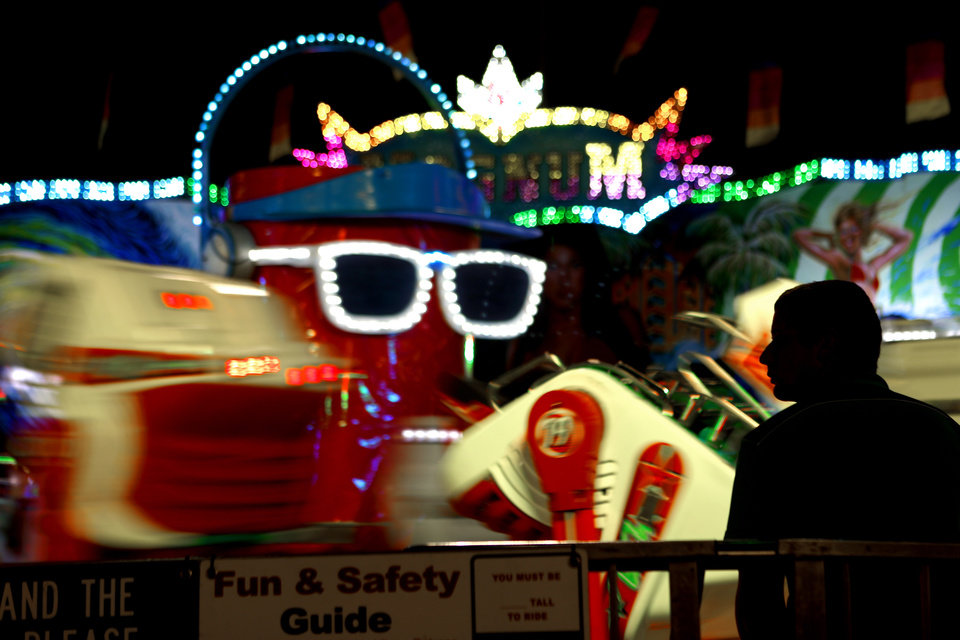 A fair worker stands watch over a ride after sunset at the Oklahoma State Fair in Oklahoma City, Wednesday, September 19, 2012. Photo by Bryan Terry, The Oklahoman