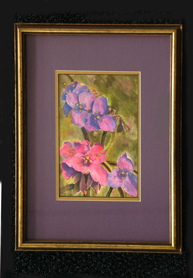 "Pictured is Artist Carolyn Martin's watercolor painting, ""Spiderwort,"" This art and many others are on exhibit at Rose State College's Alvin Alcorn Lobby of the Communications Center through December 19.<br/><b>Community Photo By:</b> Steve Reeves<br/><b>Submitted By:</b> Donna, Choctaw"