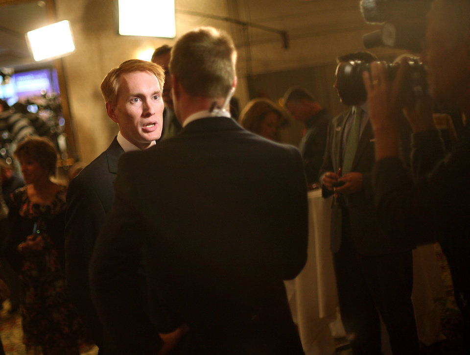 Photo - James Lankford talks with members of the media during the Republican Watch Party at the Marriott in Oklahoma City on Tuesday, Nov. 2, 2010.Photo by John Clanton, The Oklahoman