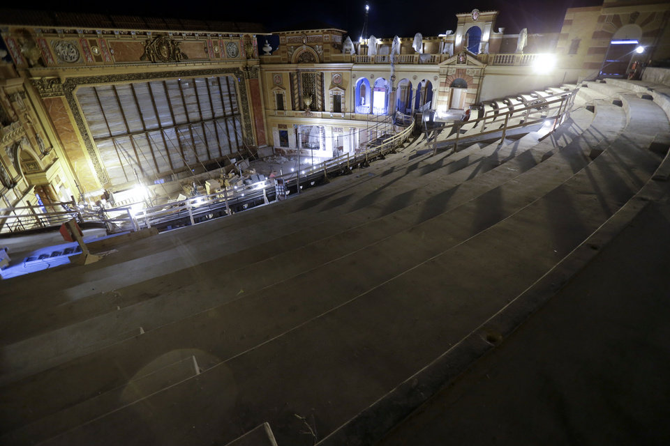 Photo - Renovation work is seen from an upper level at the Saenger Theater in Downtown New Orleans on Wednesday, May 22, 2013. (AP Photo/Gerald Herbert)