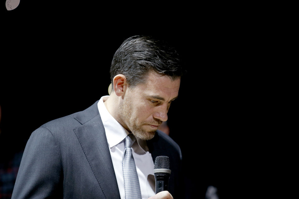 Photo - Nick Collison speaks to the crowd during a ceremony to retire his jersey number before an NBA basketball game between the Oklahoma City Thunder and the Toronto Raptors at Chesapeake Energy Arena in Oklahoma City, Wednesday, March 20, 2019. Photo by Sarah Phipps, The Oklahoman