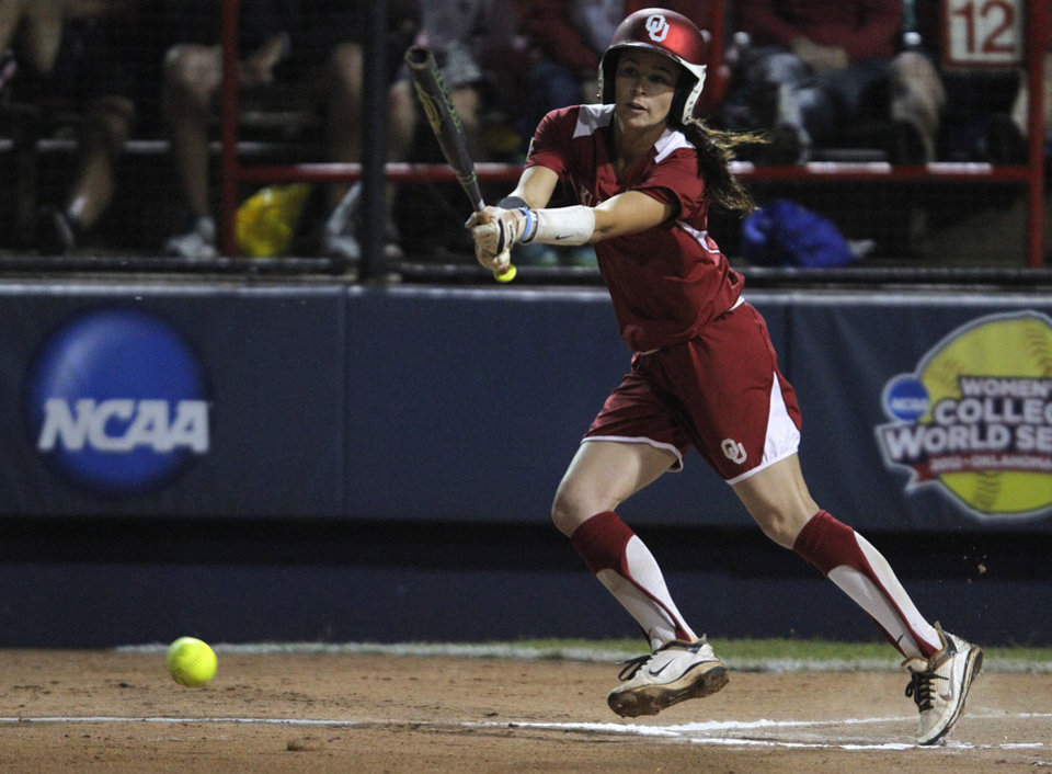 Oklahoma's Brianna Turang (2) hits during Game 3 of the Women's College World Series softball championship between OU and Alabama at ASA Hall of Fame Stadium in Oklahoma City, Wednesday, June 6, 2012.  Photo by Garett Fisbeck, The Oklahoman