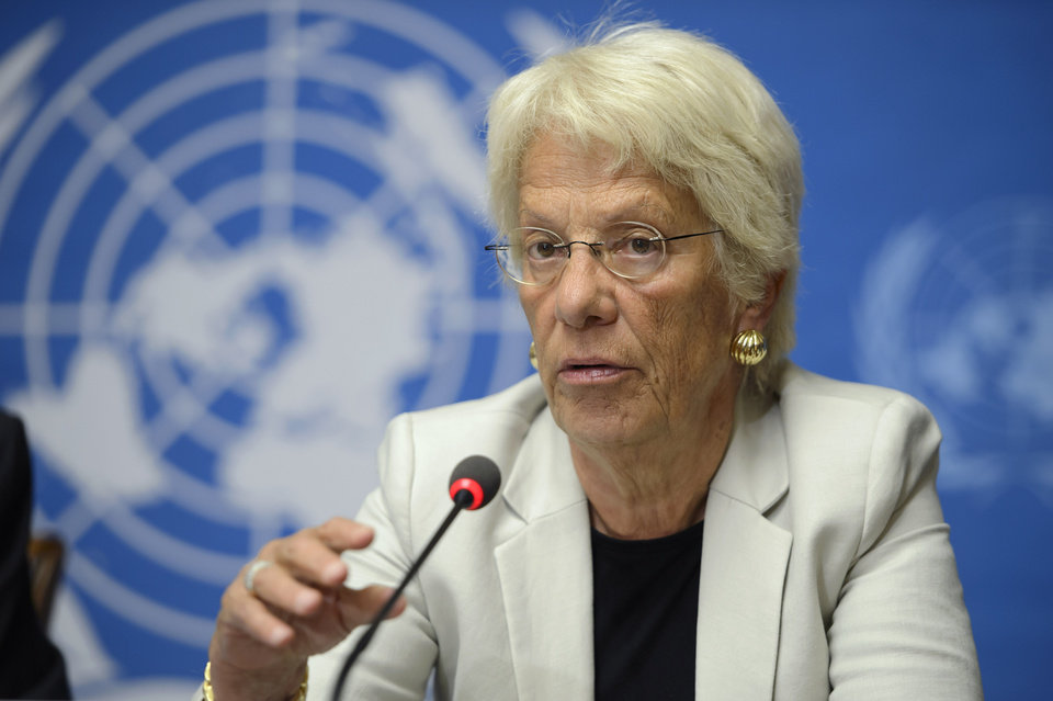 Photo - Carla del Ponte, Member of the Commission of Inquiry on the Syrian Arab Republic, speaks to the media during a press conference about the release of latest report by the Commission of Inquiry on the Syrian Arab Republic covering the period between mid-January and mid-July plus the latest developments of the human rights situation in Syria, at the European headquarters of the United Nations in Geneva, Switzerland, Wednesday, Aug.  27, 2014.  (AP Photo/Keystone,Martial Trezzini)