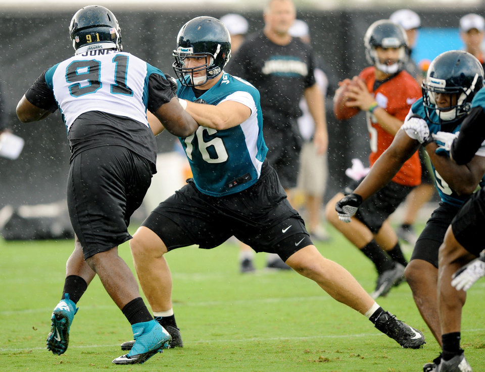 Jacksonville Jaguars first round draft pick Luke Joeckel, center, blocks Abry Jones during NFL football rookie minicamp Friday, May 3, 2013,  at EverBank Field in Jacksonville, Fla.  (AP Photo/The Florida Times-Union, Bob Self)