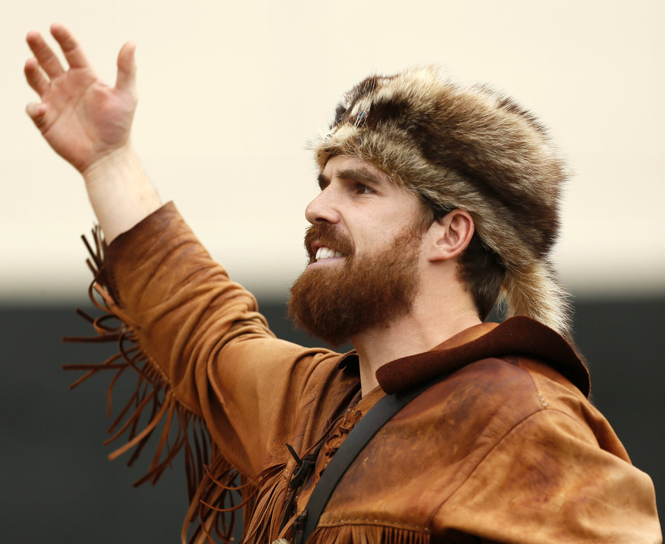 The Mountaineer encourages West Virginia fans to cheer during a college football game between Oklahoma State University (OSU) and West Virginia University (WVU) at Boone Pickens Stadium in Stillwater, Okla., Saturday, Nov. 10, 2012. Photo by Nate Billings, The Oklahoman