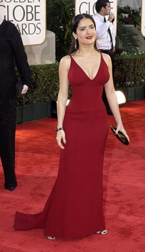 "Salma Hayek, nominated for best performance by an actress in a motion picture drama for her work in ""Frida,"" arrives for the 60th Annual Golden Globe Awards, in Beverly Hills, Calif., Sunday, Jan. 19, 2003. (AP Photo/Mark J. Terrill)"