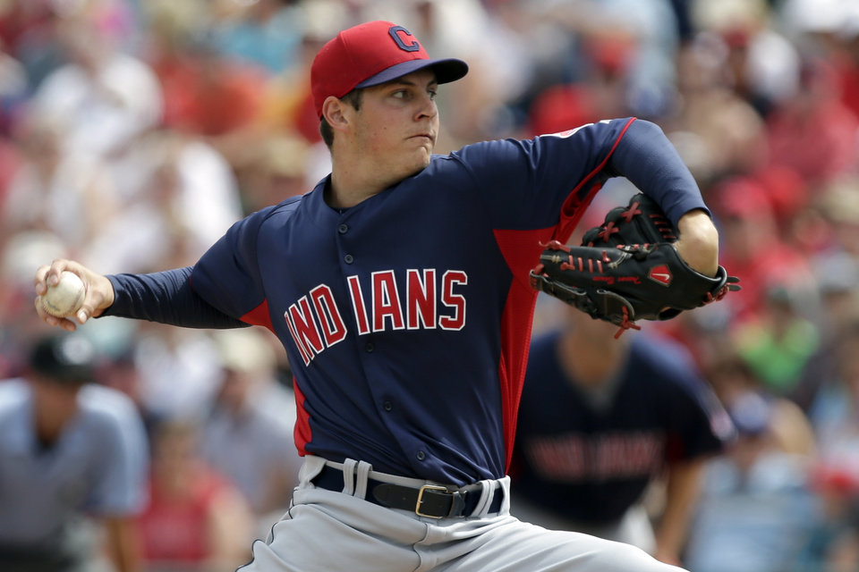 Cleveland Indians starting pitcher Trevor Bauer throws to the Los Angeles Angels during the first inning of a spring training exhibition baseball game in Tempe, Ariz., Wednesday, March 20, 2013. (AP Photo/Chris Carlson)