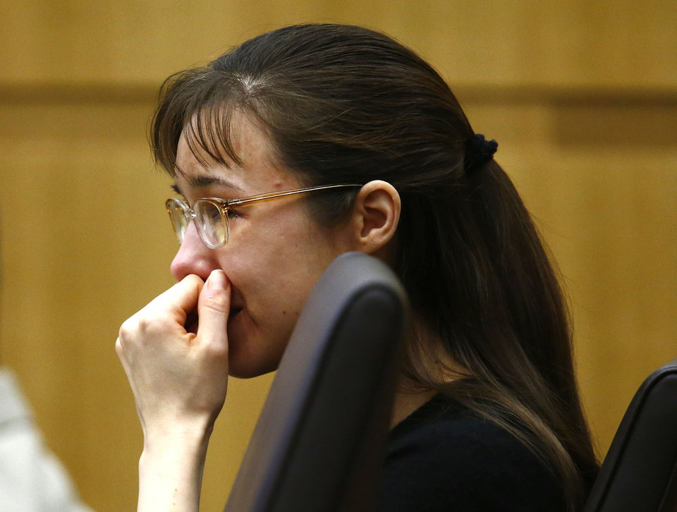Photo - Jodi Arias cries as she listens to Steven Alexander, brother of murder victim Travis Alexander, makes his
