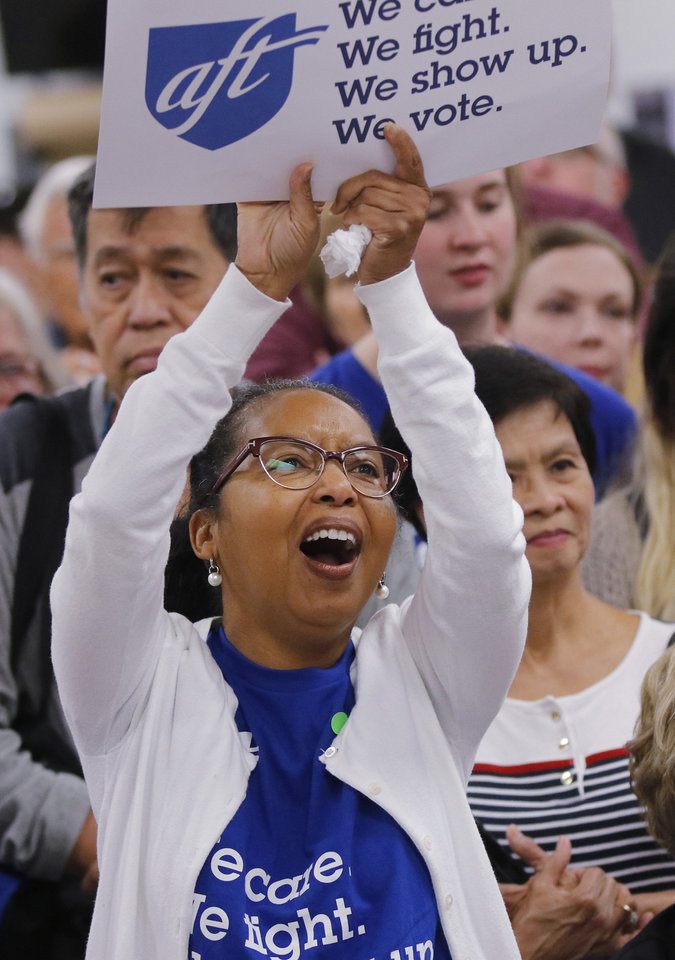 Photo -  Coya Bryant cheers Saturday during the education rally at Northwest Classen High School. [Photo by Doug Hoke, The Oklahoman]