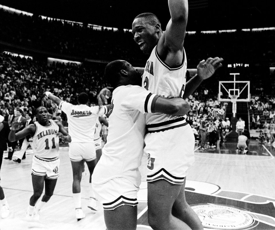 MARCH 21, 1985.     OU COLLEGE BASKETBALL: University of Oklahoma's Wayman Tisdale, right, celebrates his game-winning shot against Louisiana Tech in Dallas during the NCAA tournament. (PHOTO BY DOUG HOKE/THE OKLAHOMAN)