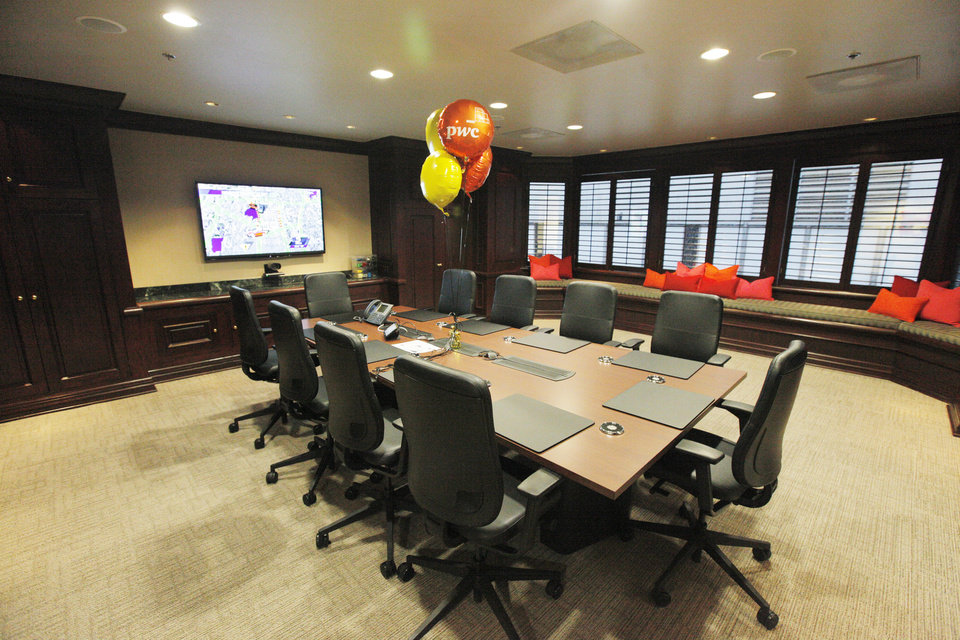 Photo -  The board room of the new PcW office is seen on the 14th floor of Two Leadership Square in downtown Oklahoma City. PHOTO BY PAUL B. SOUTHERLAND, THE OKLAHOMAN   PAUL B. SOUTHERLAND -
