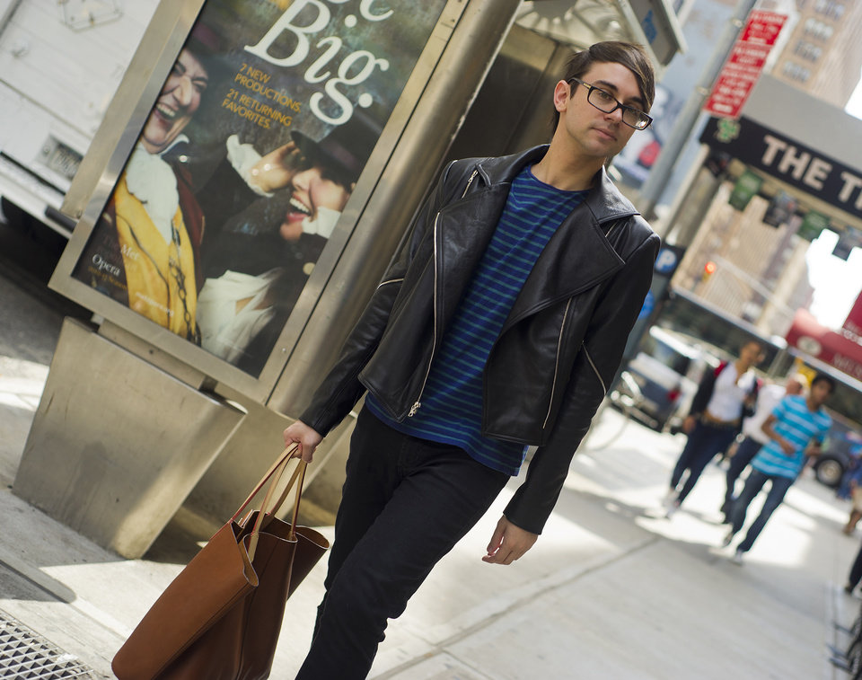 Photo - Christian Siriano heads for the fashion district in Manhattan, September 11, 2012. (Karl Merton Ferron/Baltimore Sun/MCT)