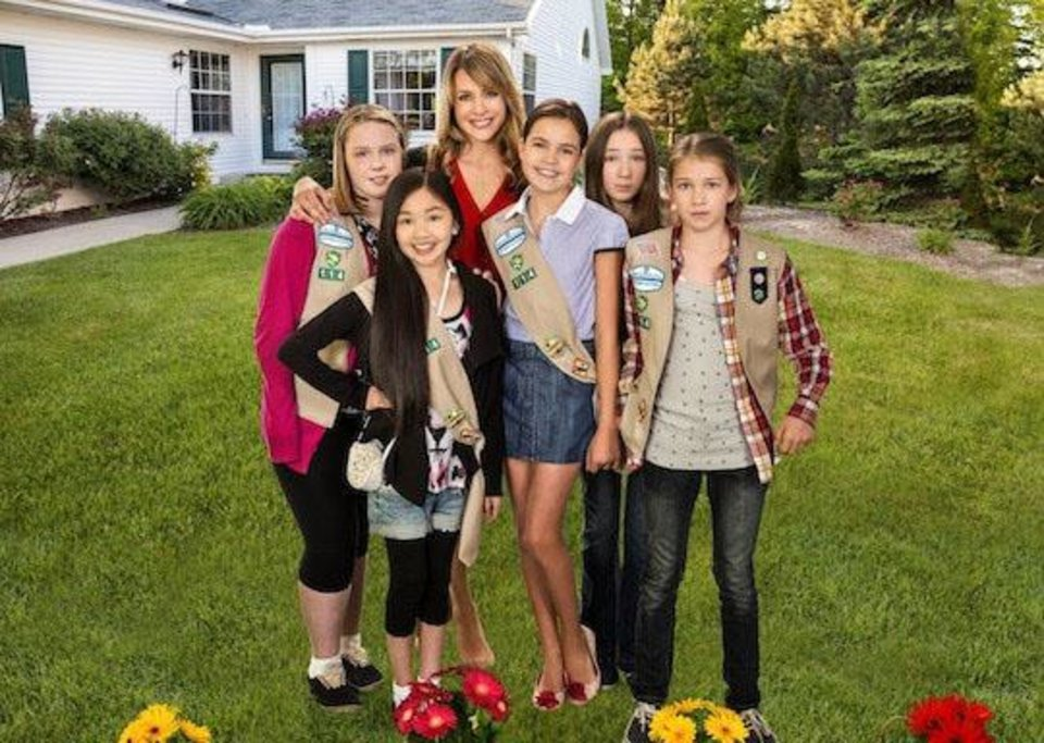 A hopeless group of Girl Scouts bond when their new leader, a perfectionist real estate agent attempts to transform them into an A-list troop before their annual cookie drive. (Left to right: Maddy Yanko, Melody Choi, Jessalyn Gilsig, Bailee Madison, Michelle Creber and Claire Corlett) Photo:  Copyright 2012 Crown Media Holdings, Inc./Photographer  Chris Large
