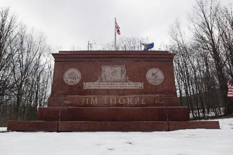 FILE - In this photo taken on Tuesday, Jan. 12, 2010, the tomb of Jim Thorpe is shown in Jim Thorpe, Pa. (AP Photo/Matt Rourke, File)