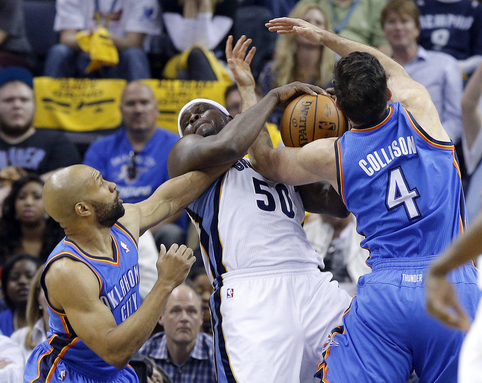Photo - Oklahoma City's Derek Fisher (6) and Nick Collison (4) fight Memphis' Zach Randolph (50) for a rebound during Game 6  in the first round of the NBA playoffs between the Oklahoma City Thunder and the Memphis Grizzlies at FedExForum in Memphis, Tenn., Thursday, May 1, 2014. Photo by Bryan Terry, The Oklahoman