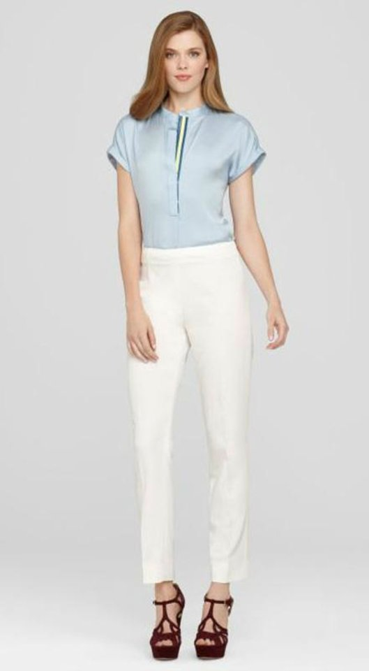 To get actress Keri Russell\'s look, try the Elie Tahari Juliette Long pant in cream for $118.80. (Courtesy ElieTahari.com via Los Angeles Times/MCT)
