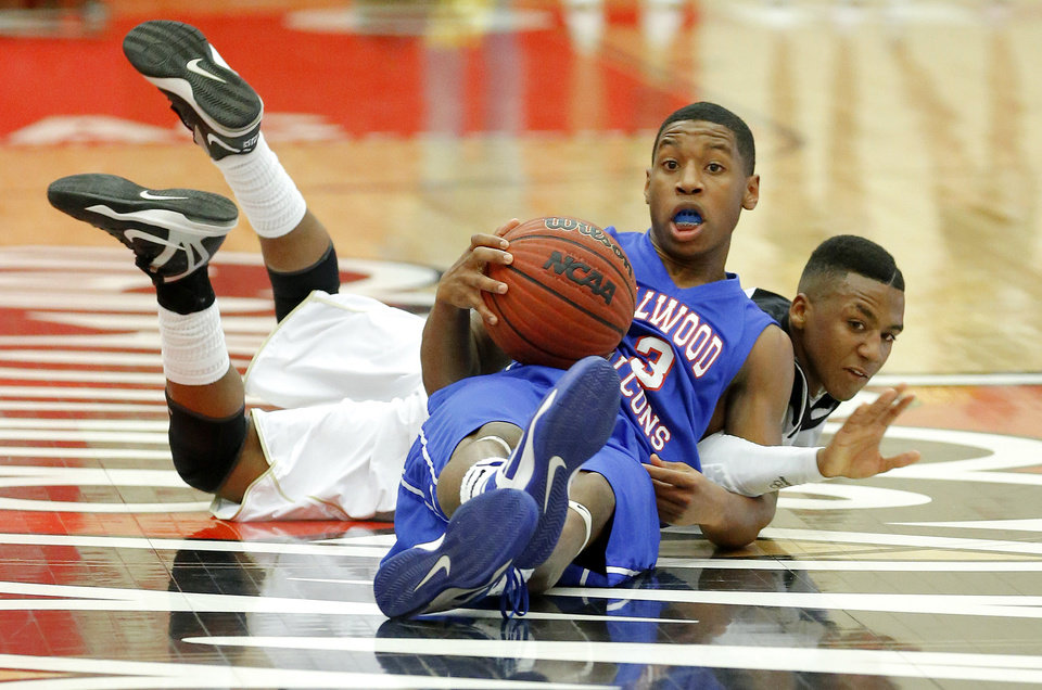 Photo - Milloowd's Cameron Batson and Hugo's Nick Brown fight for the ball during a Class 3A boys state basketball tournament game between Hugo and Millwood at Yukon High School in Yukon, Okla., Thursday, March 7, 2013. Photo by Bryan Terry, The Oklahoman