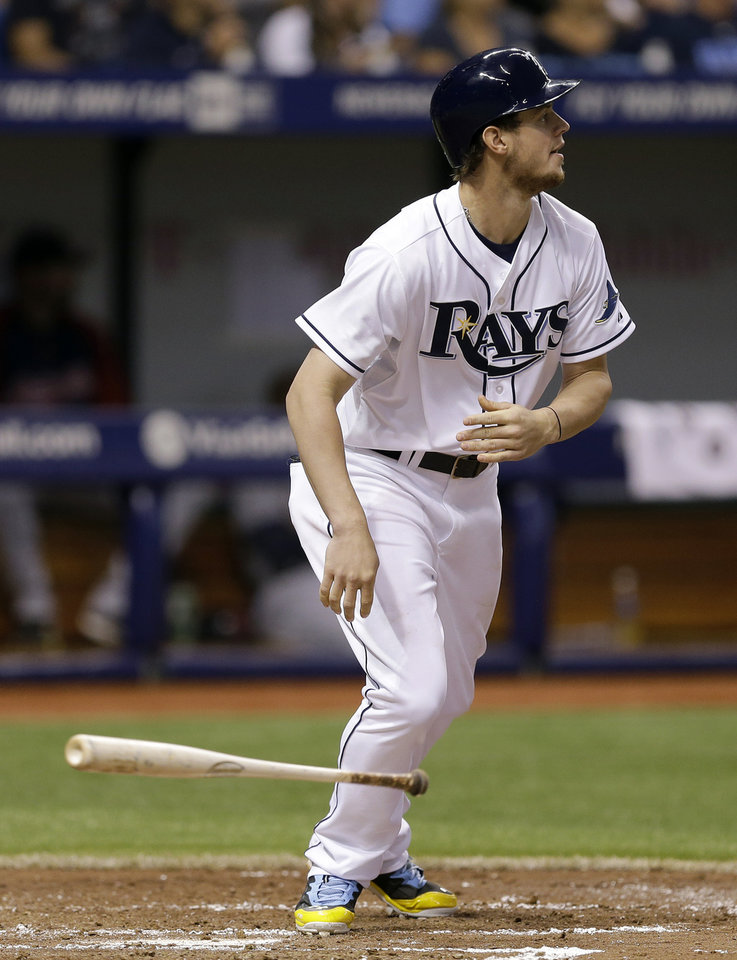 Photo - Tampa Bay Rays' Wil Myers flips his bat after hitting a double off Cleveland Indians' Zach McAllister during the fourth inning of a baseball game on Saturday, May 10, 2014, in St. Petersburg, Fla. (AP Photo/Chris O'Meara)