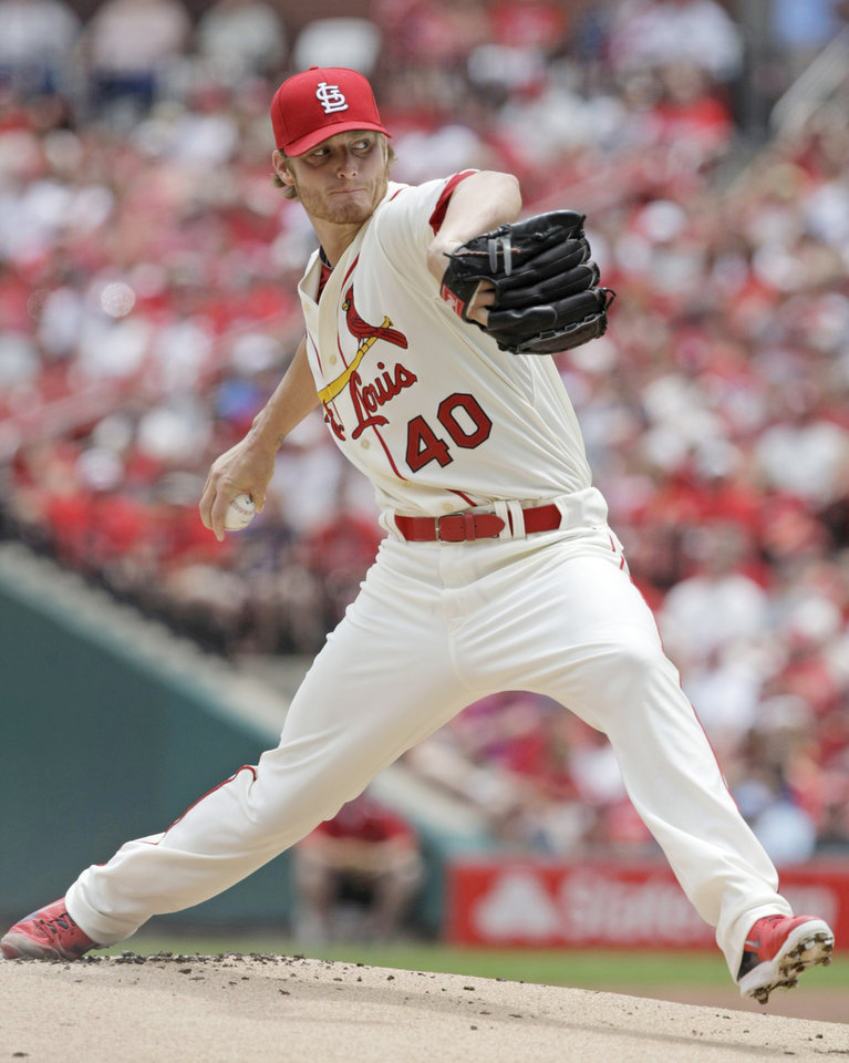 Photo - St. Louis Cardinals starting pitcher Shelby Miller delivers a pitch in the first inning of a baseball game against the Miami Marlins, Saturday, July 5, 2014 in St. Louis.(AP Photo/Tom Gannam)