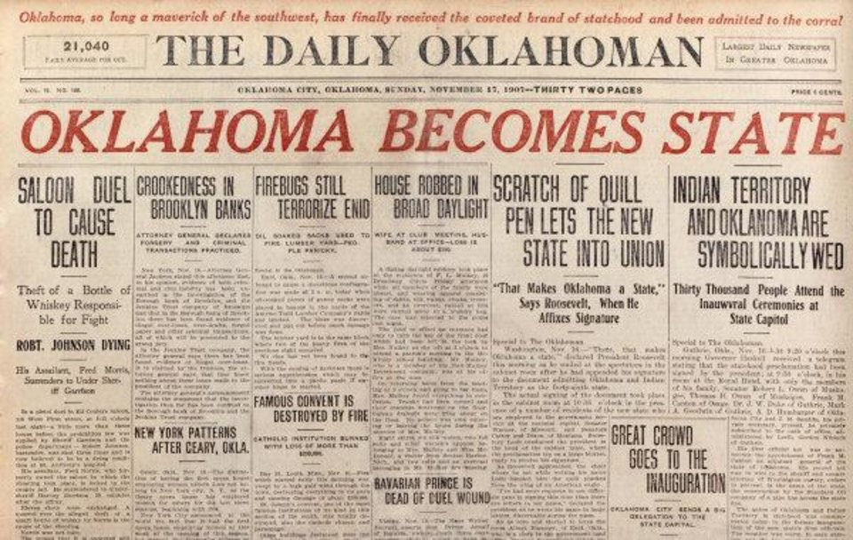 FRONT PAGE / THE DAILY OKLAHOMAN / STATEHOOD / 11/16/1907 / COVER: Front page of The Daily Oklahoman on 11/17/1907.