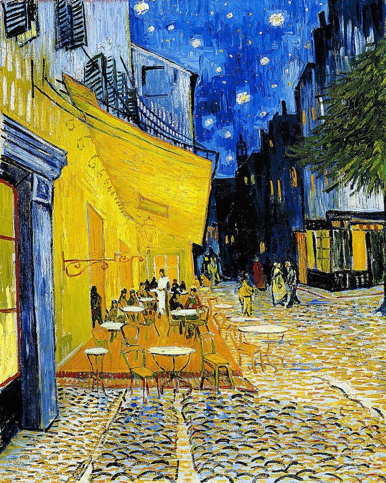 """Terrace of a Cafe at Night,"" an 1888 painting by Vincent Van Gogh.  Photos courtesy of the Kroeller-Mueller Museum"