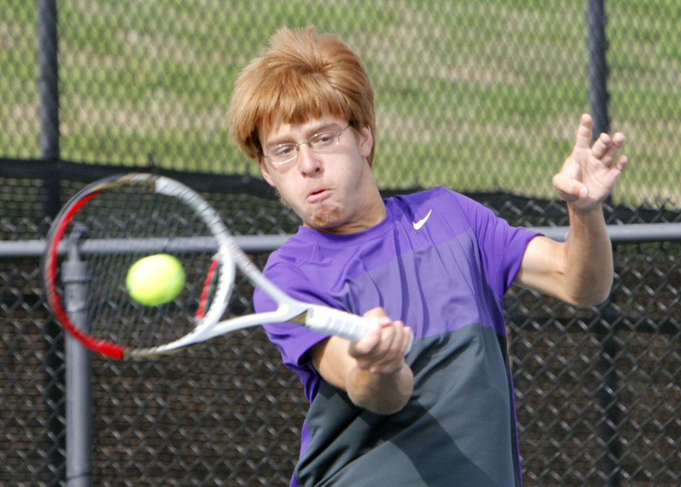 Photo - Daniel Ahshapanek of Anadarko plays against Christian Heritage Academy's Parker Denton during the 4A Boy's State Tennis Tournament at the OKC Tennis Club in Oklahoma City, OK, Friday, May 10, 2013,  By Paul Hellstern, The Oklahoman